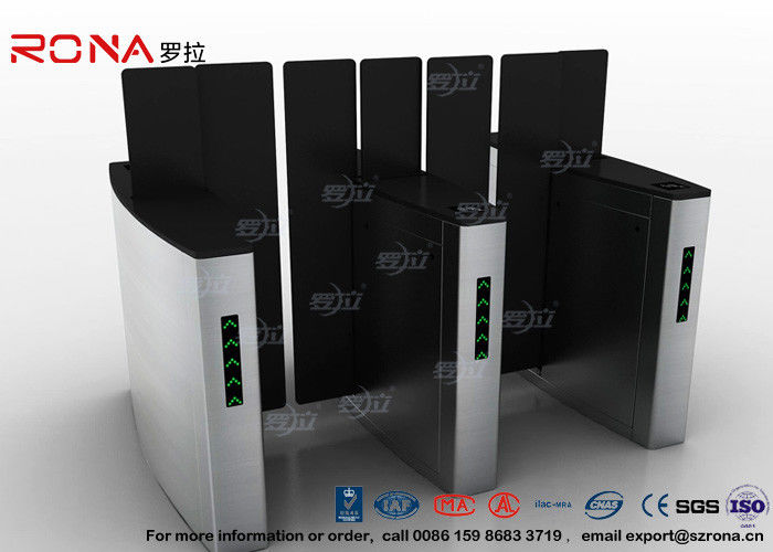 Access Control Turnstile Security Gates Tempered Glass Sliding Material